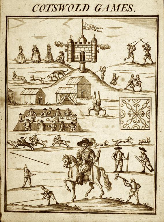 "A contemporary depiction of Robert Dover's ""Olympick Games."""
