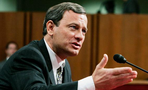 U.S. Supreme Court Chief Justice Nominee John Roberts answers questions on his fourth and final day of his testimony in his confirmation hearings before the Senate Judiciary Committee September 15, 2005 in Washington, DC.