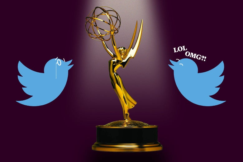 Photo illustration of an Emmy surrounded by two Twitter birds, one laughing and one looking proud.