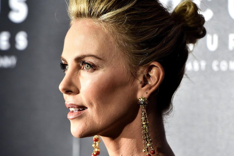 Charlize Theron attends the Premiere Of Focus Features' 'Tully' at Regal LA Live Stadium 14 on April 18, 2018 in Los Angeles, California.