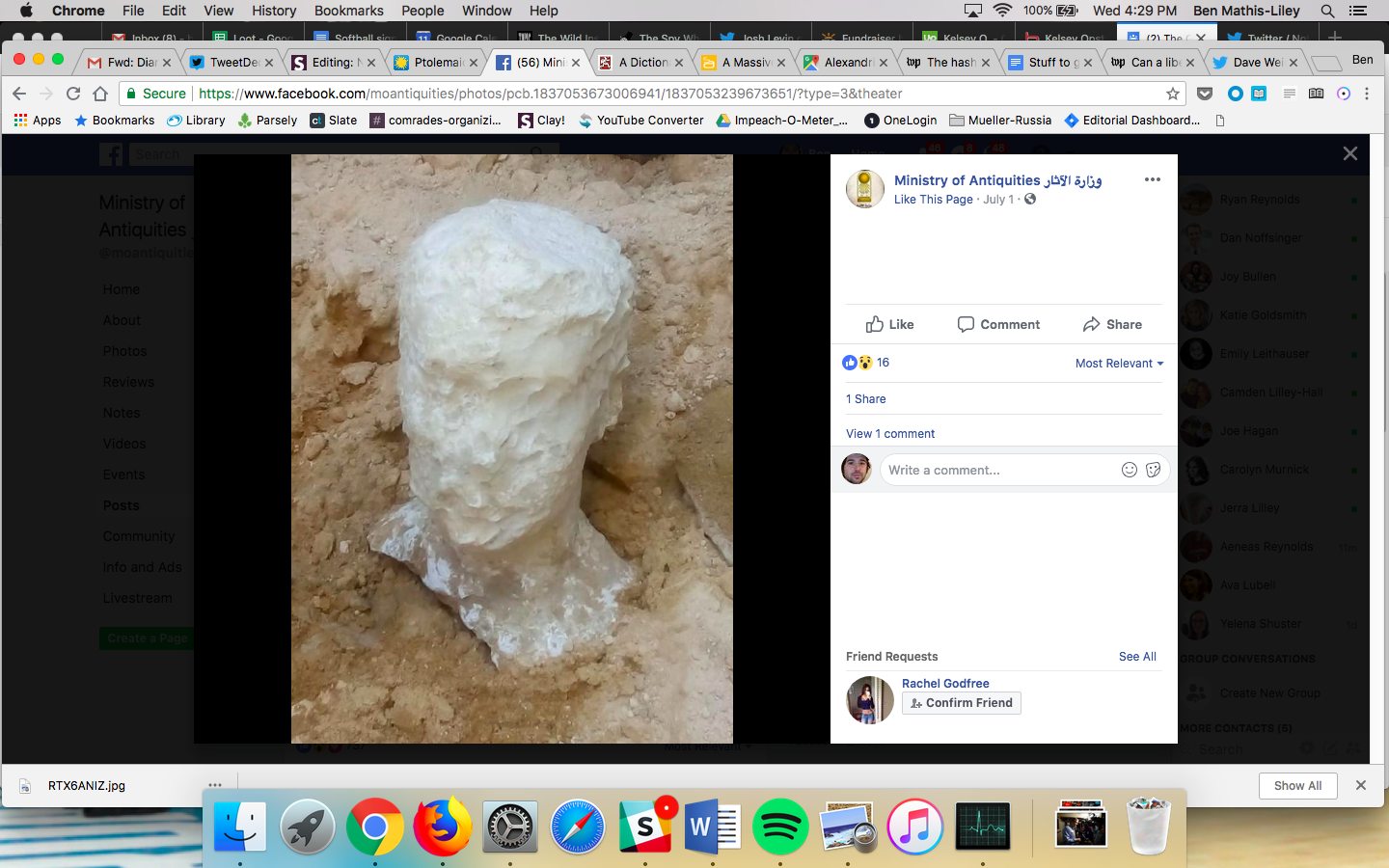 A white alabaster head against rock.