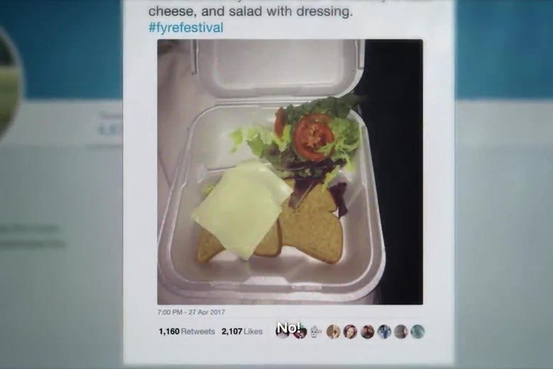 A famous tweet from the Fyre Festival showing an extremely unappetizing meal serve to attendees.