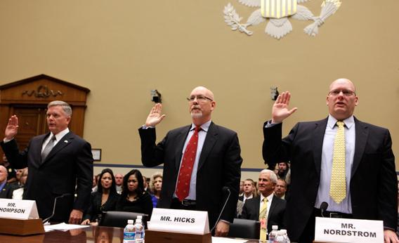 """Acting Deputy Assistant Secretary of State for Counterterrorism Mark Thompson, Gregory Hicks, foreign service officer and former deputy chief of mission/charge d'affairs in Libya at the State Department, and Eric Nordstrom, diplomatic security officer and former regional security officer in Libya at the State Department, are sworn in before the House Oversight and Government Reform Committee hearing on """"Benghazi: Exposing Failure and Recognizing Courage"""" on Capitol Hill in Washington May 8, 2013."""