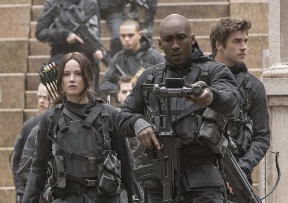 Katniss, Boggs, and Gale in ​Mockingjay Part 2​. Not pictured: Net Guy, aka Mitchell.