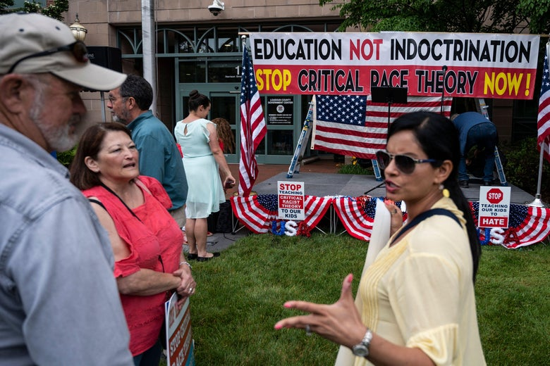 A woman appearing to argue with an older man and woman in front of a sign that says