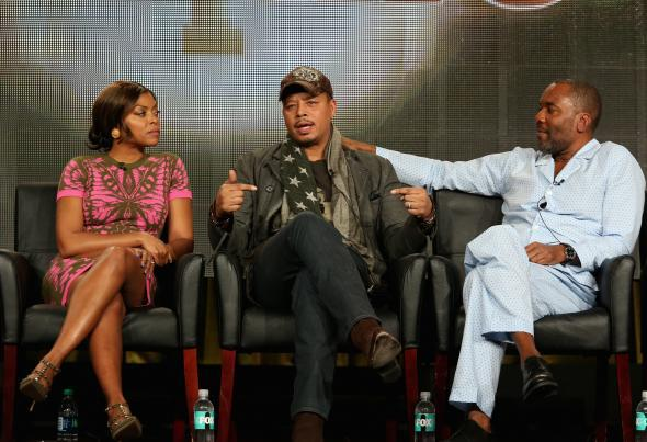 Terrence Howard (center) with Empire co-star Taraji P. Henson (left) and co-creator Lee Daniels (right) on Saturday.