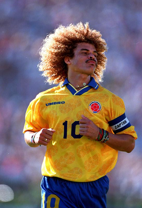 Carlos Valderrama of Colombia during the USA vs Colombia match at the 1994 World Cup in San Francisco, California.