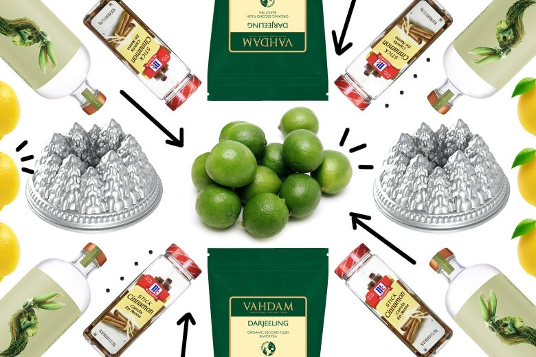 Limes, Bundt pans, cinnamon, Darjeeling tea packs, Seedlip spirits