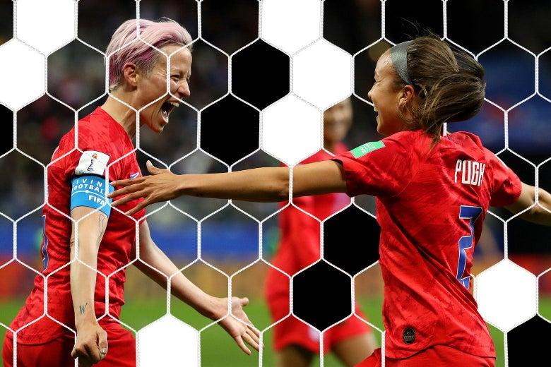 Pugh and Rapinoe celebrating on the field.