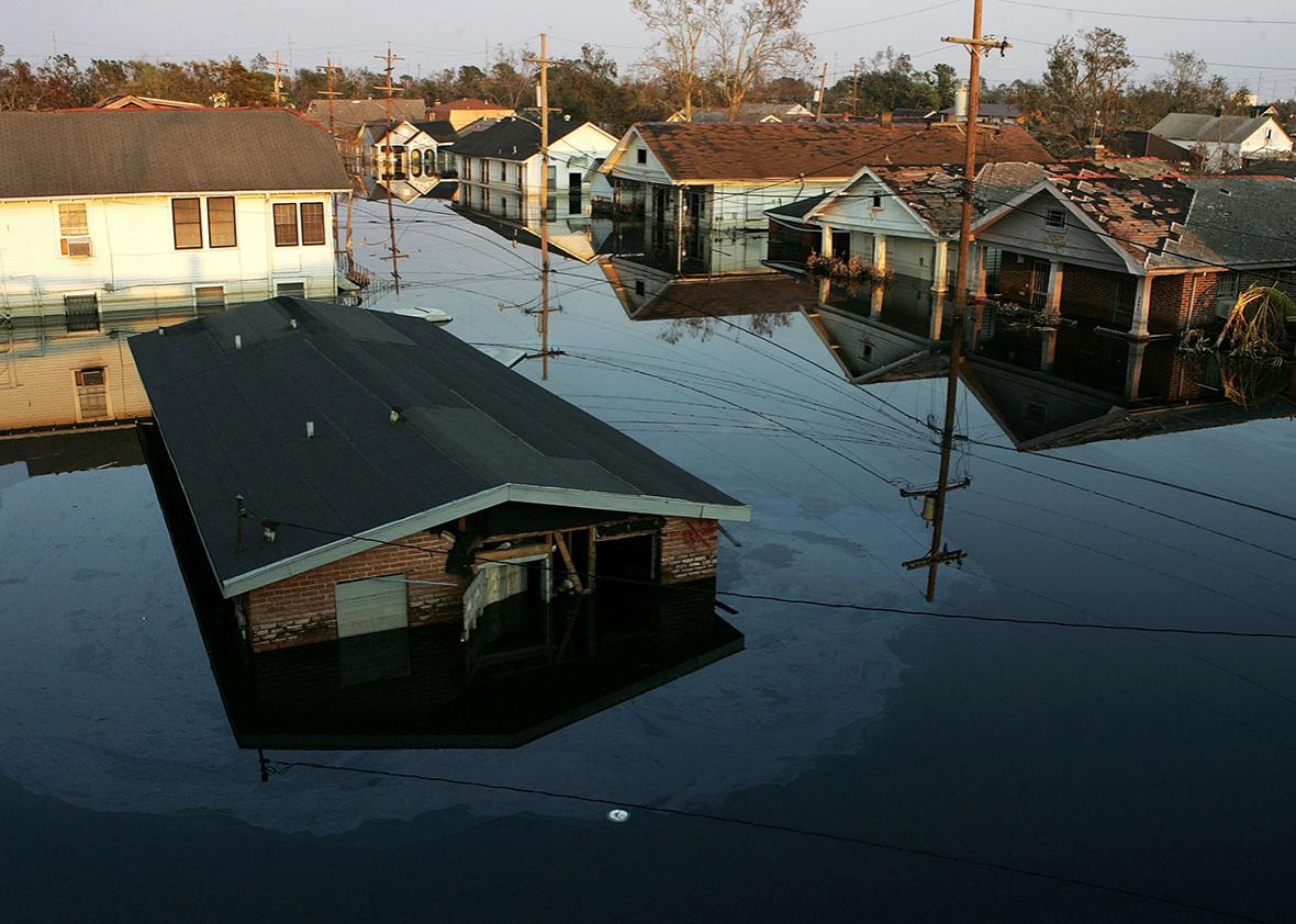 Houses are seen submerged under water September 9, 2005 in New O