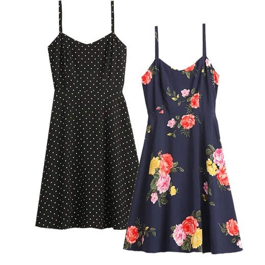 Fit and Flare Cami Mini Dress in black with white polka dots and blue with a floral print