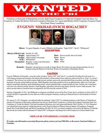 FBI Most Wanted poster for Evgeniy Mikhaylovich Bogachev.