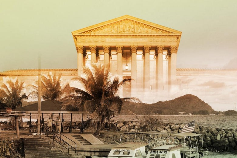 Photo illustration of American Samoa in front of the Supreme Court