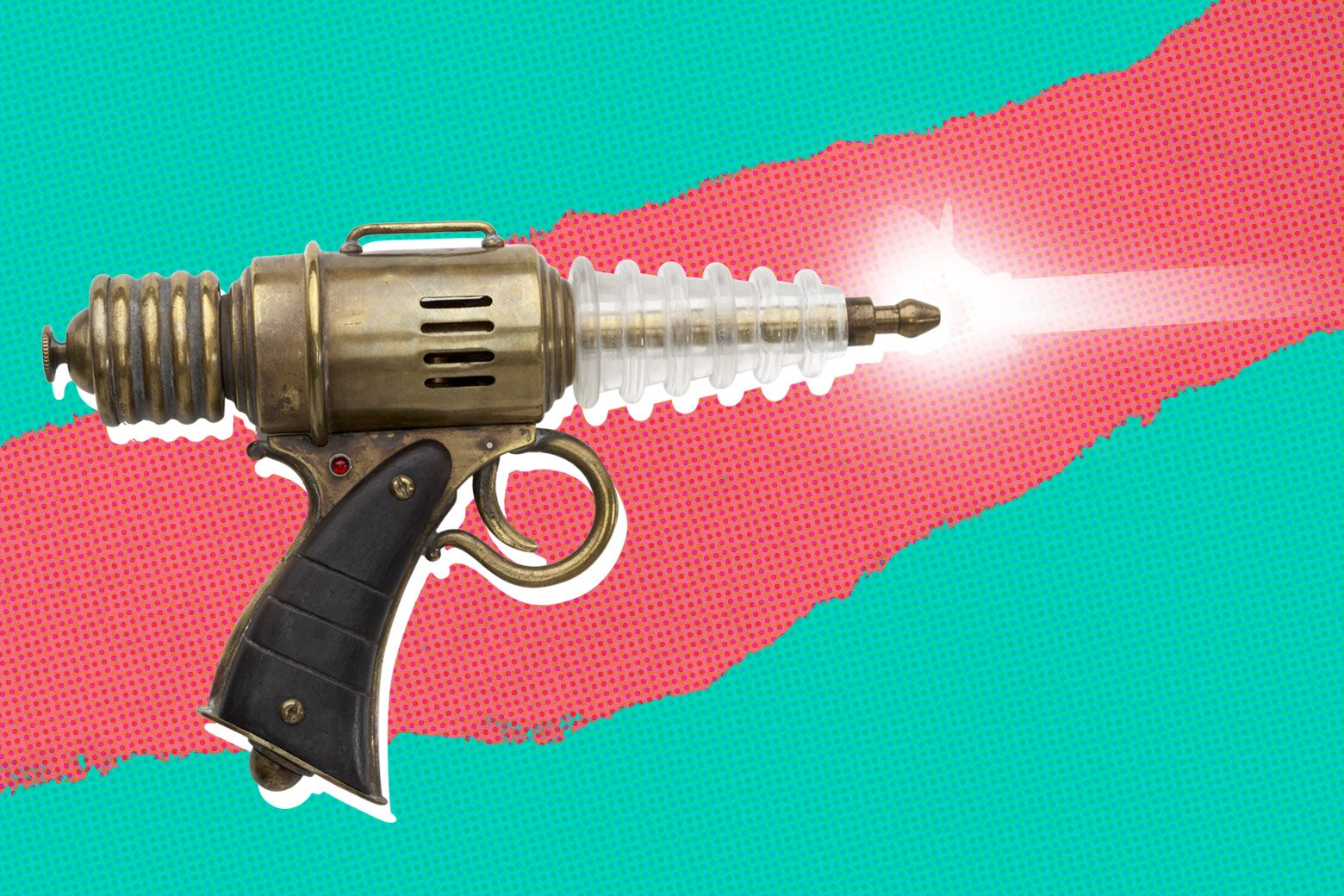 A death ray shooting from a laser gun.