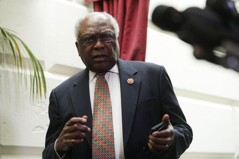 House Majority Whip Rep. James Clyburn (D-SC) leaves after a House Democrats meeting at the Capitol May 22, 2019 in Washington, D.C.