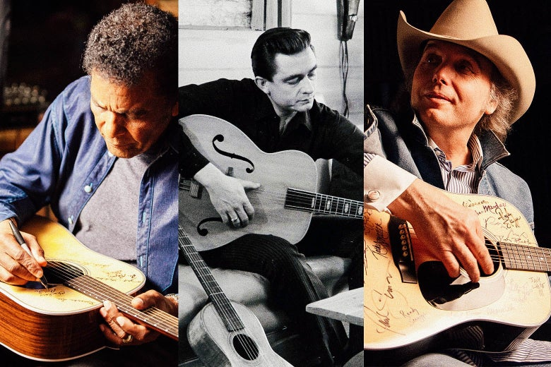 Side-by-side photo illustration of Charley Pride, Johnny Cash, and Dwight Yoakam