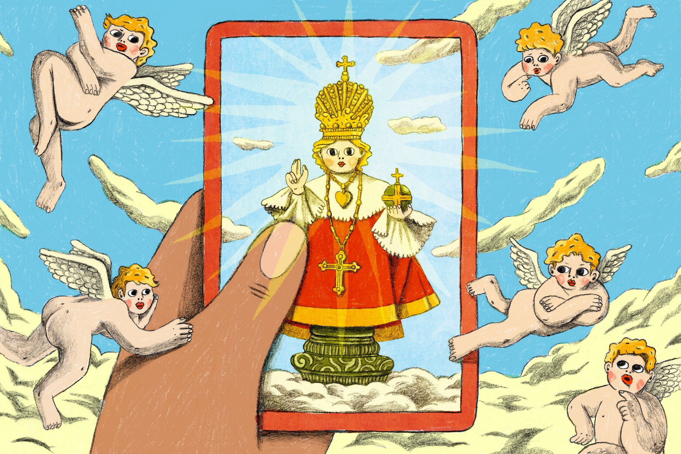 Illustration: A hand holds a tarot-inspired card adorned with a holy figure, as cherubs and clouds surround them both.