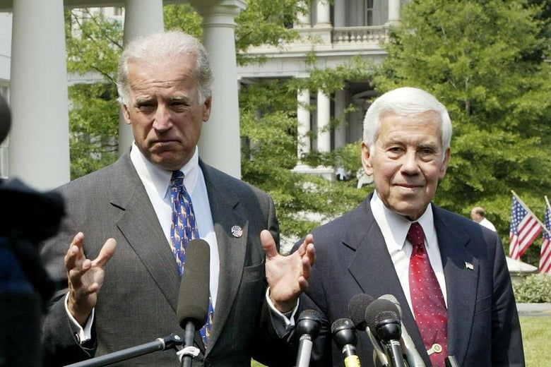 Sens. Joe Biden and Richard Lugar speaking to reporters on June 5, 2002, at the White House in Washington.