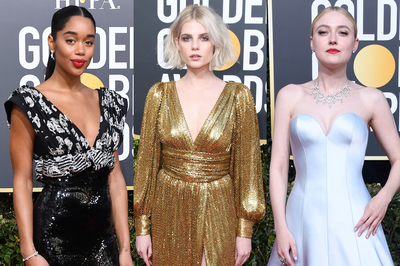 Laura Harrier, Lucy Boynton, and Dakota Fanning at the 2019 Golden Globes.