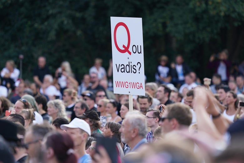 "In a large group of people, a person holds a sign that says ""Quo vadis? WWG1WGA."""