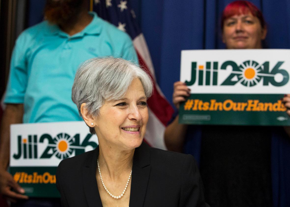 Jill Stein smiles before announcing that she will seek the Green Party's presidential nomination, at the National Press Club, June 23, 2015 in Washington, DC.