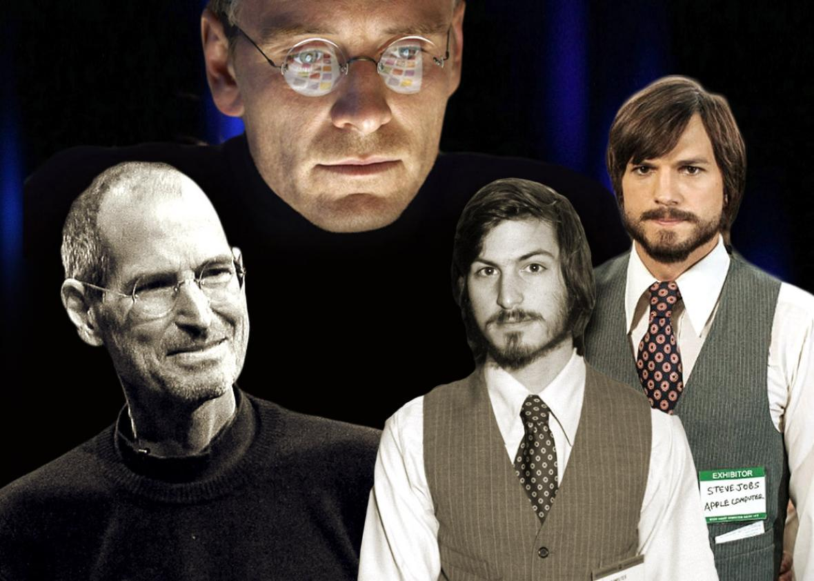 Steve Jobs, left, in June 2011, Michael Fassbender in Steve Jobs,Steve Jobs, left, in June 2011, Michael Fassbender in Steve Jobs (2015), Steve Jobs in April 1977, and Ashton Kutcher in Jobs (2013).