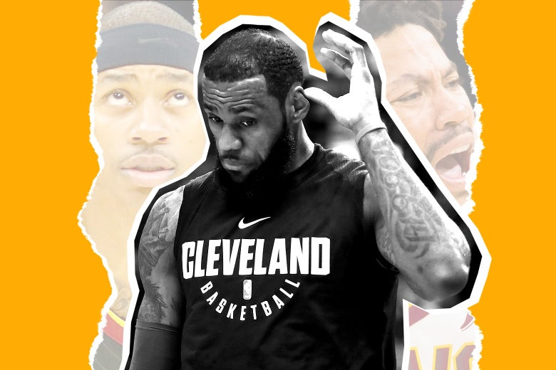 Photo illustration: LeBron James stands in the center flanked by images of his former teammates. Photo illustration by Slate. Photos by Gregory Shamus/Getty Images; Kirk Irwin/Getty Images; Jason Miller/Getty Images.