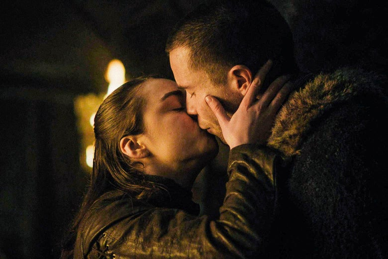 In a scene from Game of Thrones, Arya kisses Gendry.
