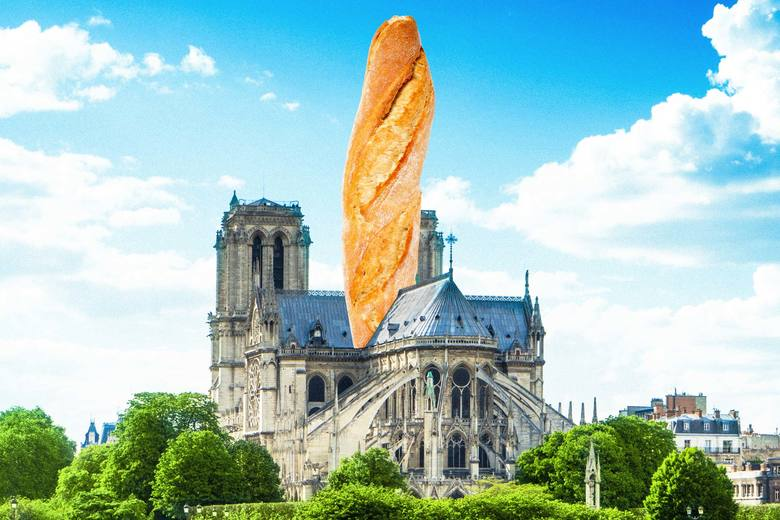 Notre Dame, but with a baguette as the spire.