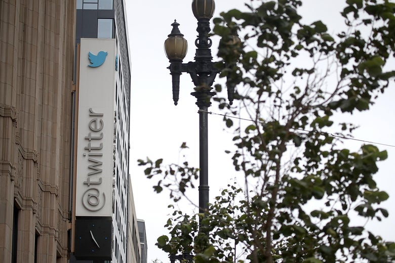A sign is posted on the exterior of Twitter headquarters on July 26, 2018 in San Francisco, California.
