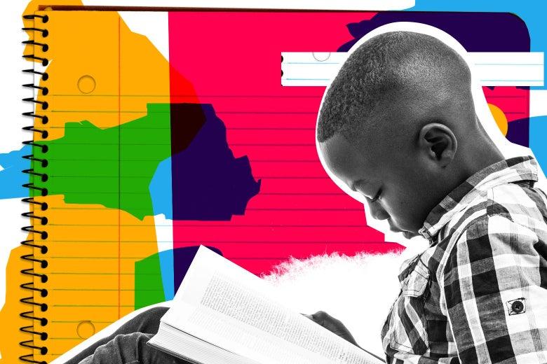 Boy reading a sad book.