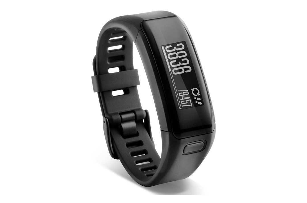 Black Garmin Vivofit activity tracker.