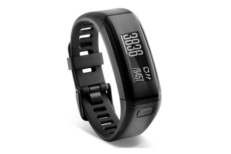 Black Garmin Vivofit activity tracker.