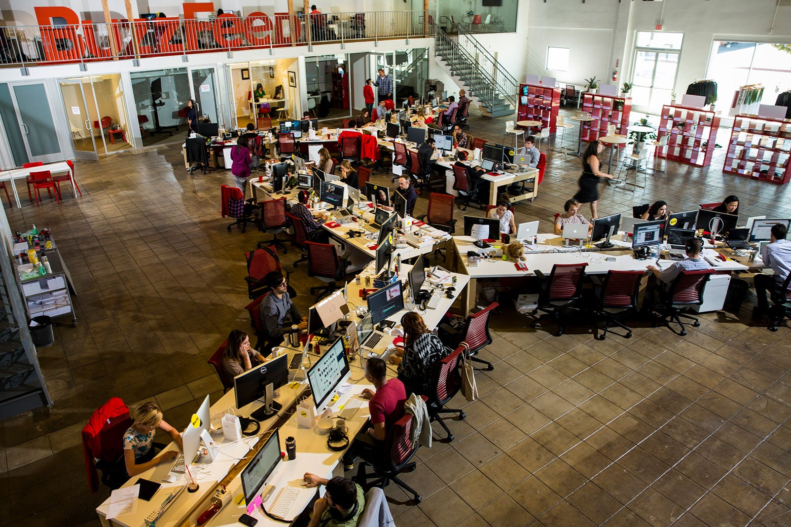 The newsroom of the Los Angeles BuzzFeed headquarters, photographed Oct. 7, 2013.