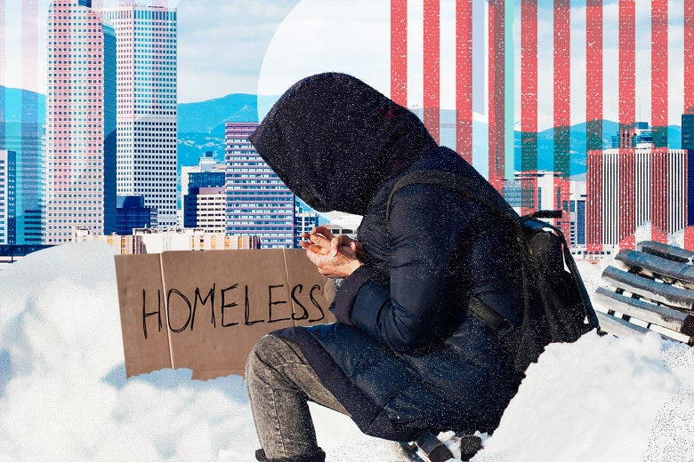 """Photo illustration: A woman sits on a bench in the winter next to a sign that reads """"Homeless."""""""