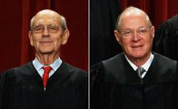 U.S. Supreme Court Justices Anthony Kennedy and Stephen Breyer. Click image to expand.
