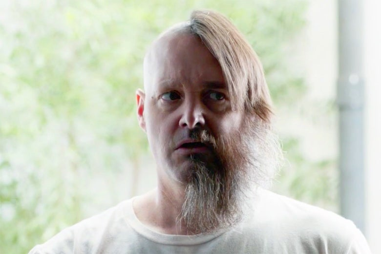 Will Forte's character in The Last Man on Earth sports long hair and a beard on only half his face.