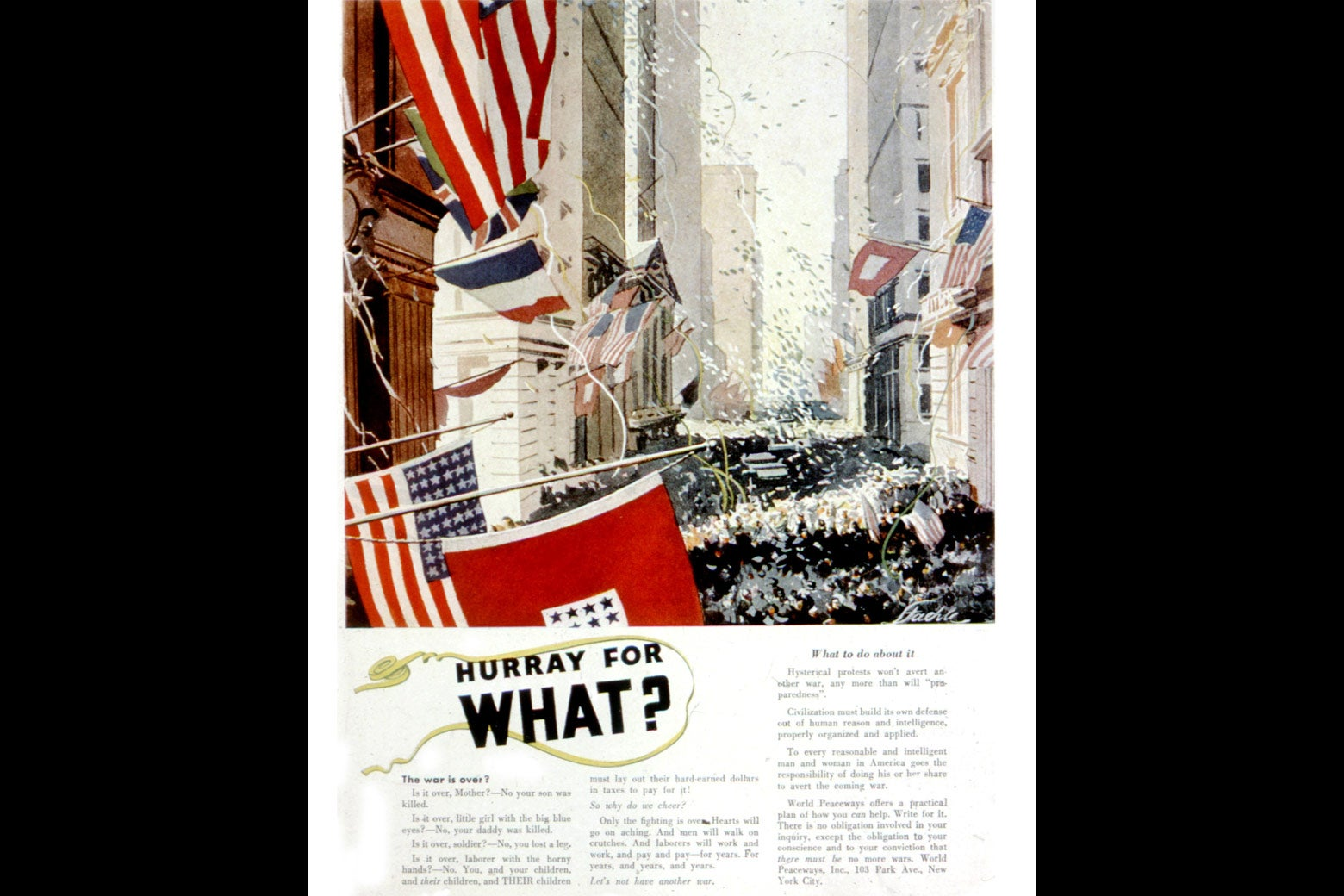 World Peaceways propaganda in an October 1935 Vanity Fair.