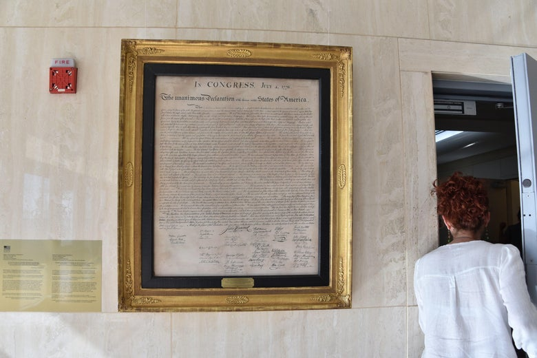 A copy of the United States' Declaration of Independence hangs on a wall at the US embassy in Havana.
