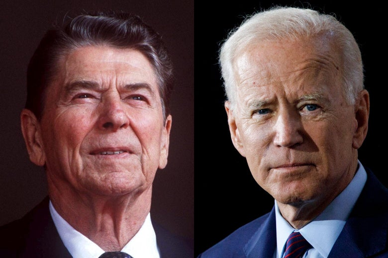 Side-by-side headshots of Reagan and Biden.