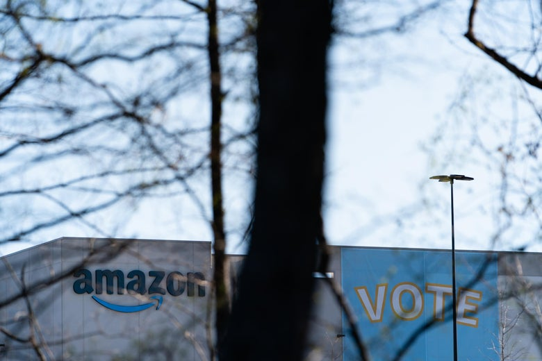 The Amazon fulfillment warehouse at the center of a unionization drive is seen on March 29, 2021 in Bessemer, Alabama. Employees at the fulfillment center are currently voting on whether to form a union, a decision that could have national repercussions. (Photo by Elijah Nouvelage/Getty Images)