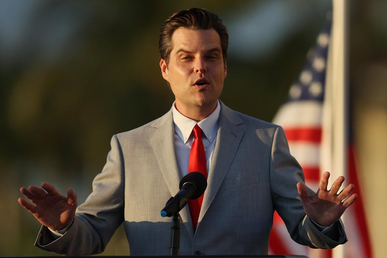 "Rep. Matt Gaetz (R-Fl) speaks during the ""Save America Summit"" at the Trump National Doral golf resort on April 9, 2021 in Doral, Florida."
