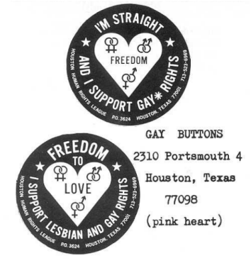 Buttons from the 1979 March on Washington.