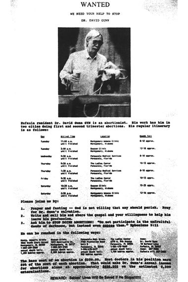 The flyer showing Dr. David Gunn distributed by Operation Rescue during a rally held in Montgomery on April 11, 1992.