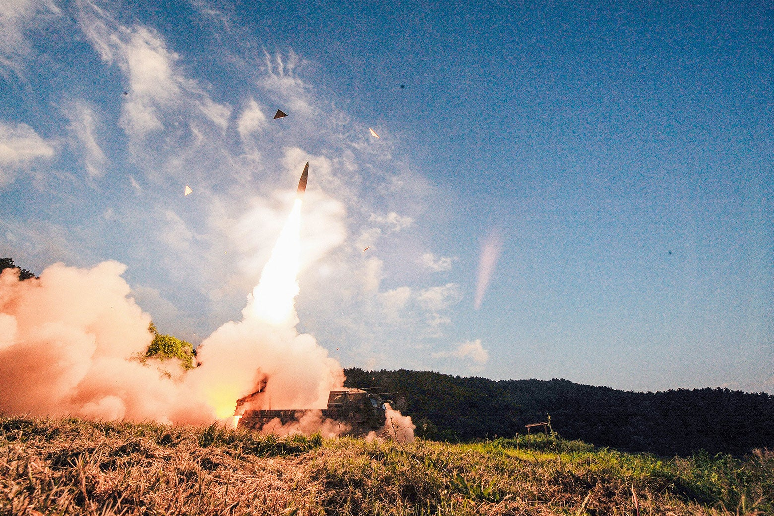 A nuclear missile is test-fired.