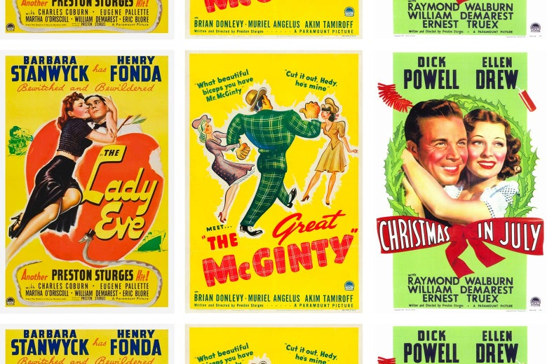 Vintage posters for The Lady Eve, The Great McGinty, and Christmas in July.