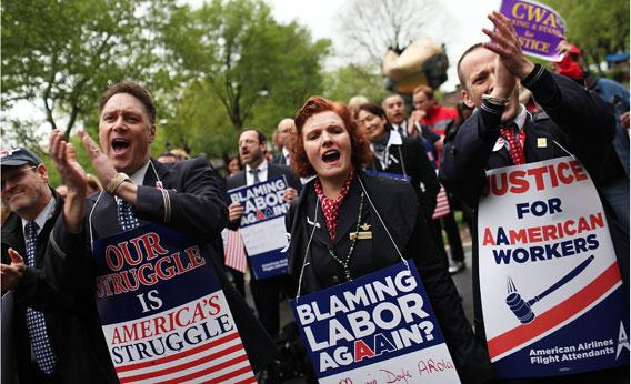 American Airlines Workers Rally Outside U.S. Bankruptcy Court.