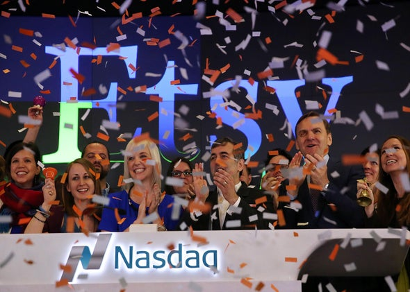 Etsy's age-at-IPO is average for the IPO class of '15. Above, Etsy CEO Chad Dickerson and CFO Kristina Salen celebrate their company's IPO on the floor of the Nasdaq on April 16, 2015.