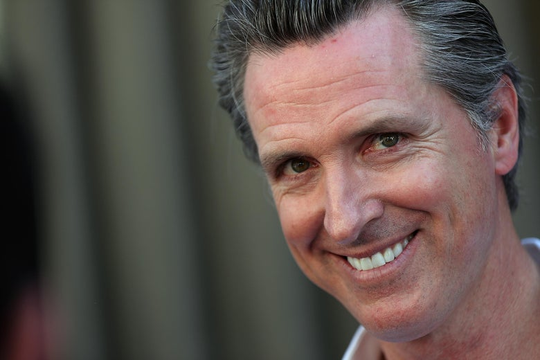 OAKLAND, CA - JUNE 02:  California Lt. Gov. and democratic candidate for California governor Gavin Newsom looks on during a campaign stop at California Assemblyman Rob Bonta's Chili Cook Off on June 2, 2018 in Oakland, California.  With less than a week to go until the California primary, Gavin Newsom is campaigning throughout the state. (Photo by Justin Sullivan/Getty Images)