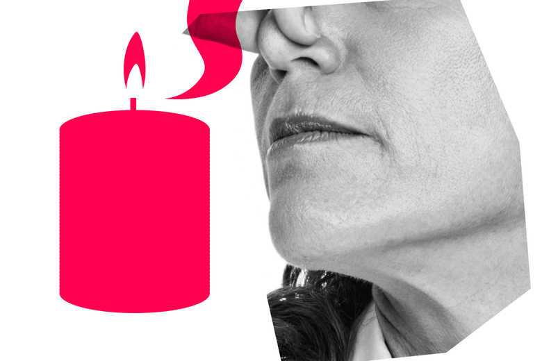 A woman holding her nose next to a graphic of a burning candle
